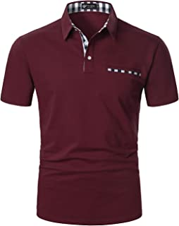 STTLZMC Mens Casual Short Sleeve Polos with Fashion Plaid Splice T-Shirt