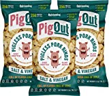 PigOut Pigless Pork Rinds, Salt & Vinegar   Plant Based Healthy Snacks, High Protein, Low Calorie   Gluten Free, Kosher, Non-GMO   3.5oz, 3 Pack