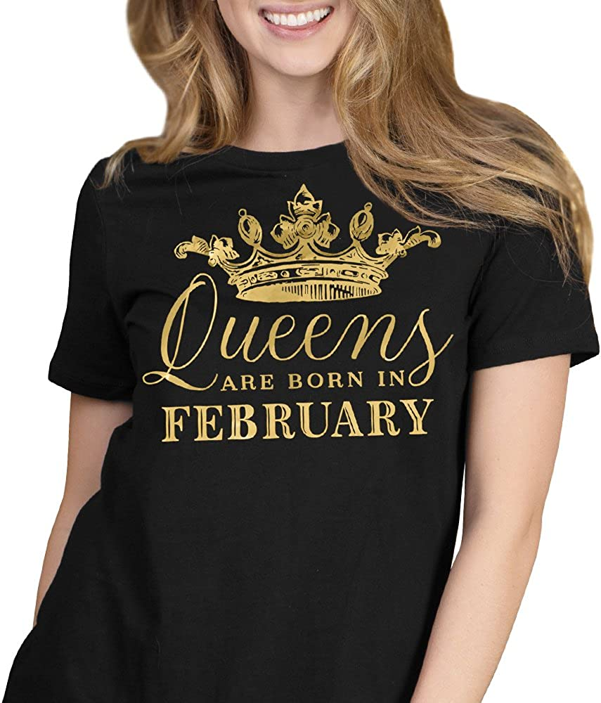 FEBRUARY QUEEN Birth Month Crown Birthday Party New Ladies Womens T-Shirt Top