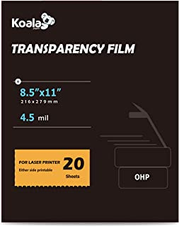 Koala OHP Film Overhead Projector Film 8.5x11 Inches Dual-side Printing Film for Laser Printer