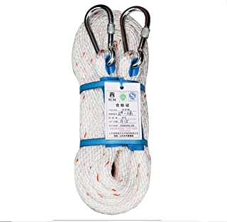 HUYYA Outdoor Rock Climbing Rope, 18mm Static Tree Climbing Rope Rappelling Rescue Rope with Safety Lock Escape Parachute Rope for Sports/Décor/Pet Toys/Crafts