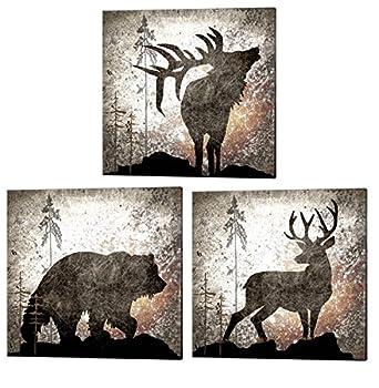 Calling Bear Deer & Elk by LightBoxJournal 3 Piece Canvas Art Set 10 X 10 Inches Each Hunting Lodge Art Cabin Art Animal Art