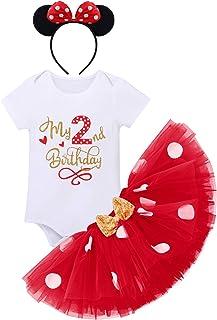 FYMNSI Baby Mädchen 1. / 2. / 3. Geburtstag Outfit Baumwolle Kurzarm Strampler  Gepunktet Tütü Rock  Ohr Stirnband 3tlg Bekleidungsset