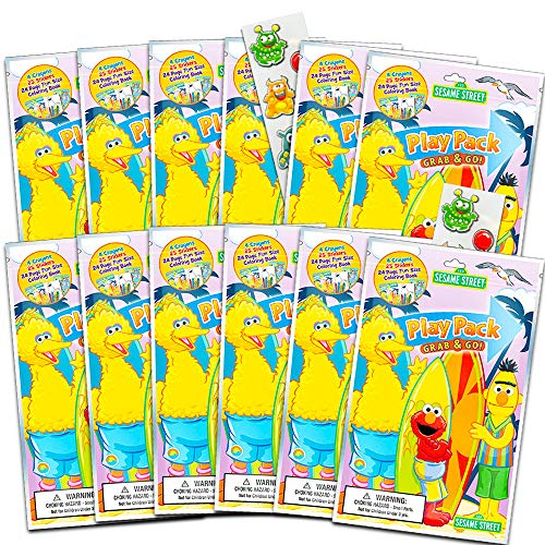 Sesame Street Ultimate Party Favors for Toddlers Kids Bundle -- 12 Sets with Stickers, Coloring Books, Crayons, and Bonus Stickers (Party Supplies)