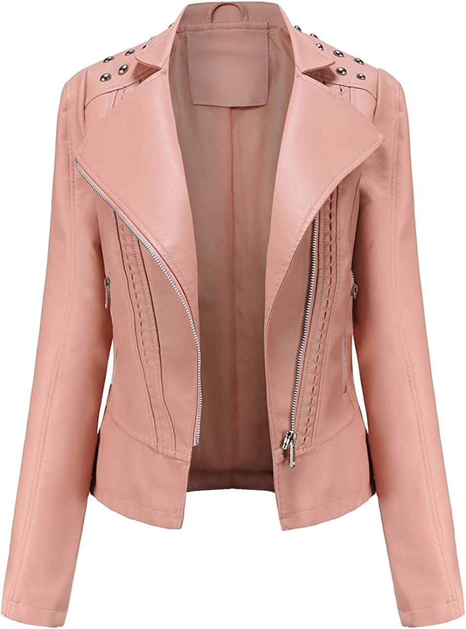 chouyatou Women's Casual Light Studded Shoulder Moto Biker Faux Leather Jacket