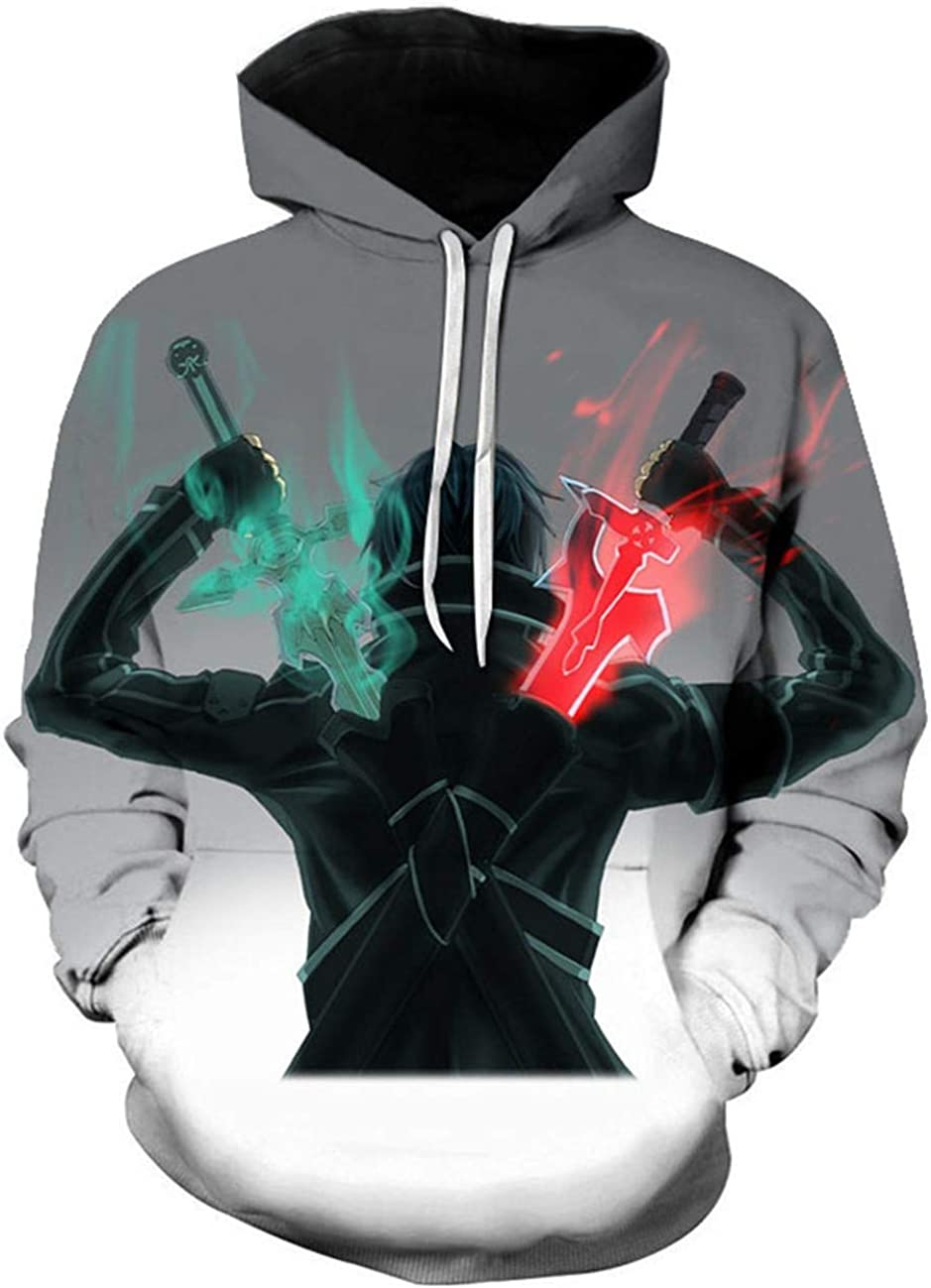 Details about  /Sword Art Online Kirito Anime Casual Graphic Print Thin Hoodie Sweater S-4XL