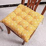 homeyuser 2 Stück Stuhlkissen Sitzkissen Garten Esszimmer Gepolstert Kissen Stuhl Sitzkissen mit Bändern (gelb)