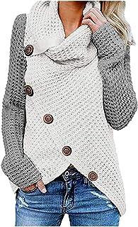 L9WEI Trui voor dames, wintertruien, warme asymmetrische rolkraag, gebreide trui, wrap gebreid, casual shirt met lange mou...