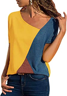 Women's Summer Tee Shirts Short Sleeve Shirts Patchwork V-Neck Casual Tunic Tops Blouse Basic Color Block T Shirt
