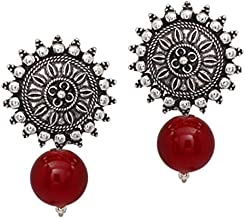 Aheli Flower Design Crafted Bohemian Oxidized Stud Drop Earrings Indo Western Wear Ethnic Fashion Jewelry for Women