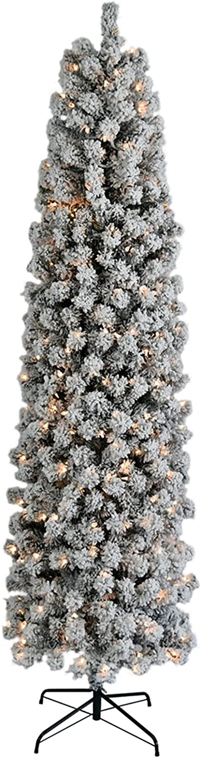 Challenge the lowest price Skpitin 7.5ft Pencil Flocking Tied Light Artific Now free shipping Christmas Tree