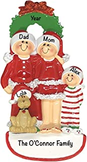 Christmas Family of 3 with Dog Personalized Ornament (Unique Christmas Tree Ornament - Classic Decor for A Holiday Party - Custom Decorations for Family Kids Baby Military Sports Or Pets)