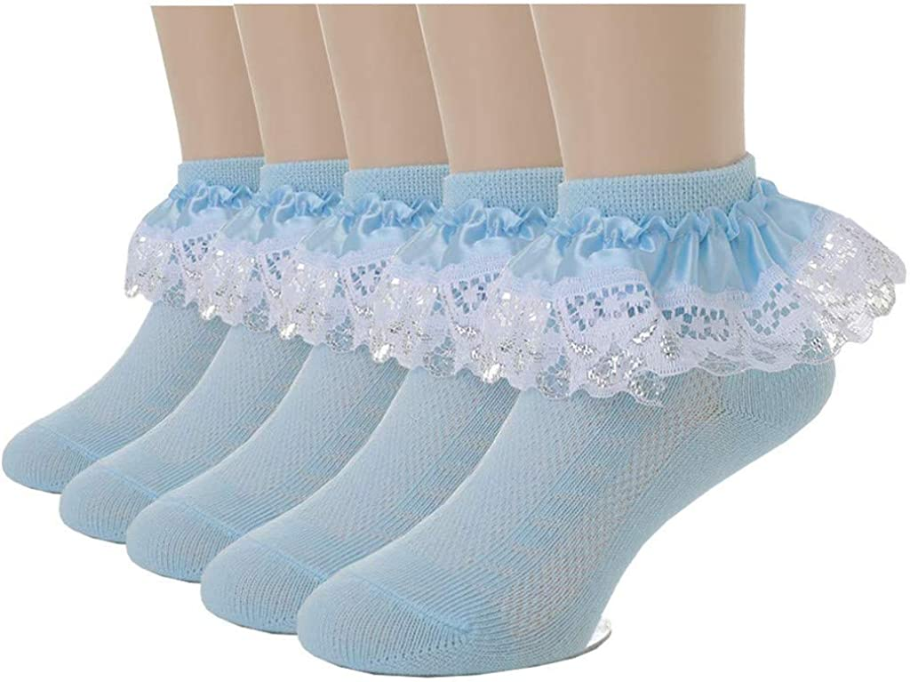 Baby Kids 5Pc Solid Lace Net Sock Ankle Socks Pack of 5 Dress Socks for Toddler Girls 2019 with Grips