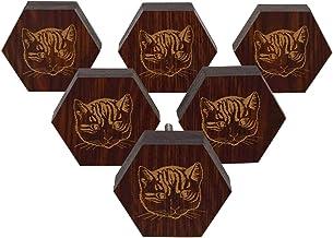 IBA Indianbeautifulart Bruine Gegraveerde Knoppen Houten Garderobe Knoppen Kabinet Lade Trek 10 PCs