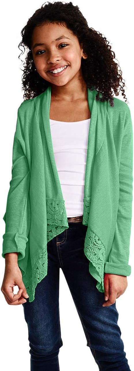 KIDPIK Rib Lace Flyaway Cardigan for Girls – Open Front Long Sleeve Spring or Summer Sweater