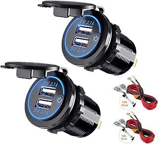 Thlevel 2 x USB-oplader voor in de auto, 5 V, 4,2 A, snel opladen met LED-display, waterdicht en stofdicht, voor 12 V ~ 24...