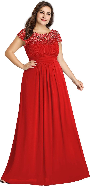 Ever-Pretty Women's Plus Size Lace Cap Sleeve Long Formal Evening Party Maxi Dresses 9993PZ