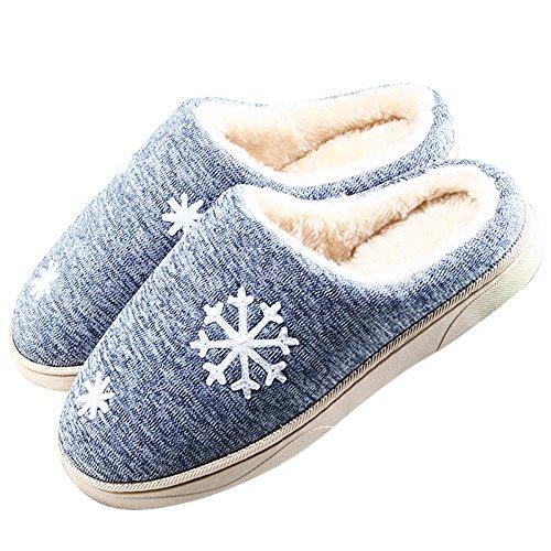 Minetom Unisex Donne Uomo Morbido Caldo Peluche Casa Pantofole Inverno Autunno Antiscivolo Pattini Fiocco Di Neve Modello Scarpe Slippers B Blu EU 42 43