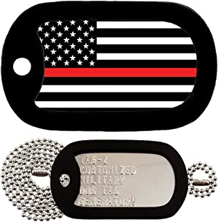 Tag-Z RED LINE Flag - Customized - Full Set Military Dog Tags