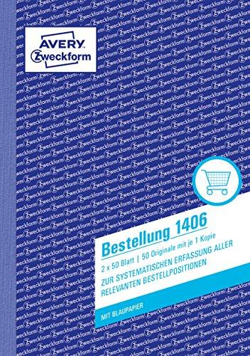 AVERY Zweckform 1406 Bestellung (A5, 2x50 Blatt, mit einem Blatt Blaupapier und einem blanko Durchschlag, zur systematischen Erfassung aller relevanten Bestellpositionen) weiß