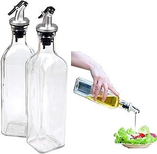 Distributeur d'huile Cruet Bouteille en verre pour distributeur de cuisson Distributeur d'huile Ensemble de bouteilles pou...