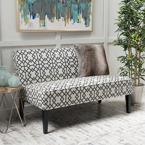 Christopher Knight Home Dejon Modern Fabric Loveseat, Gray Geometric / Matte Black