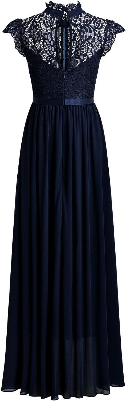 Miusol Vintage Gasa Encaje Fiesta Vestido Largo para Mujer