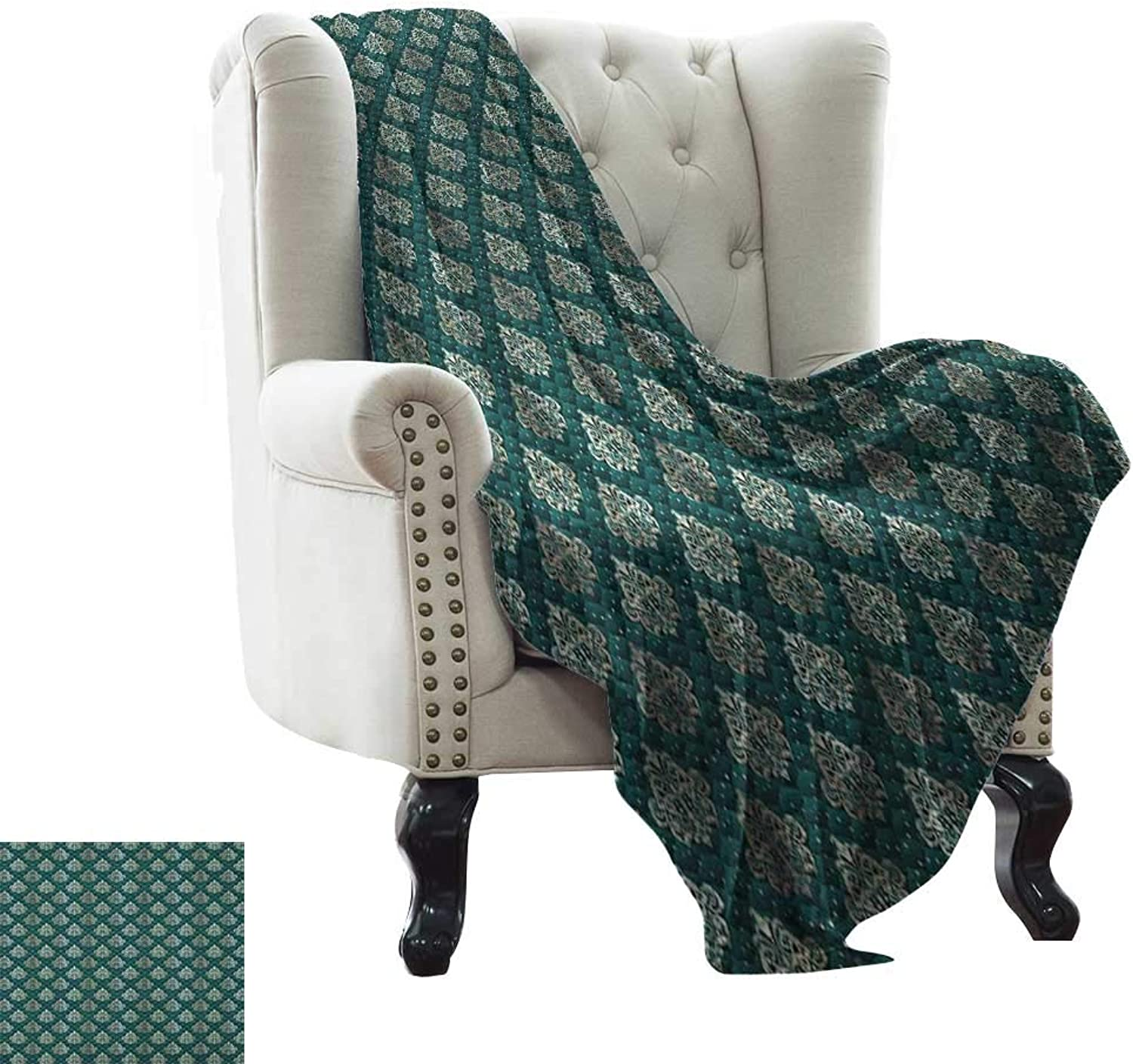 LsWOW Weighted Blanket for Kids Damask,French Pattern Inspired by Rococo Era Designs Intricate Renaissance Motifs, Jade Green gold for Bed & Couch Sofa Easy Care 50 x60