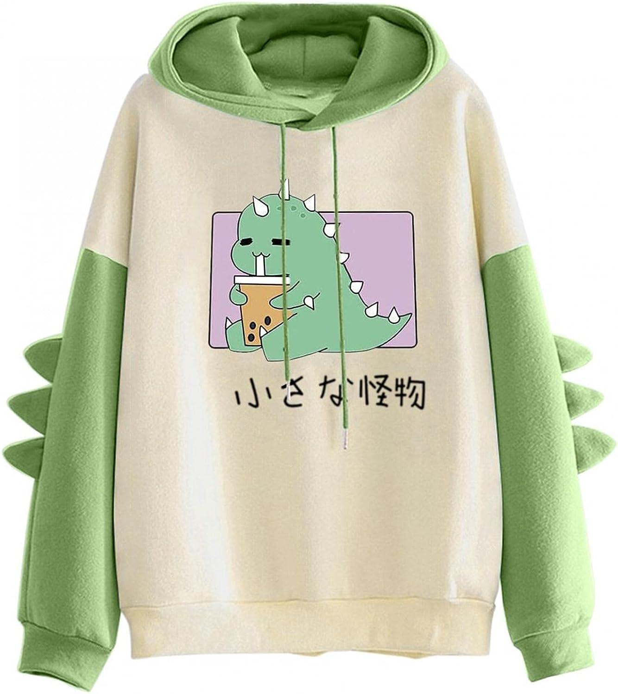 ONHUON Hoodies for Women,Women Teen Girls Dinosaur Drawstring Hoodie Cute Cartoon Color Block Hooded Sweatshirt Pullover