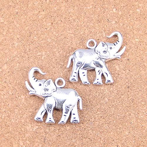 WANM Colgante 4 Uds Encantos De Elefante 39 * 30Mm Colgantes Antiguos Joyería De Plata Tibetana Vintage Joyería DIY para Collar De Pulsera