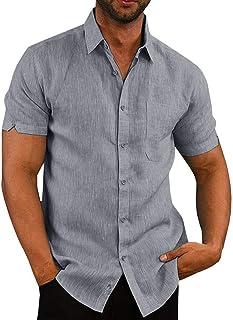 Pengfei Mens Short Sleeve Shirts Linen Cotton Button Down Tees Spread Collar Plain Shirts