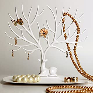 Elandy Jewellery Display/Stand/Holder- Sika Deer Tree Jewellery Holder Jewellery Organiser for Rings Necklace Birthday Gifts Xmas Jewellery Stand Rack Storage (S, White)