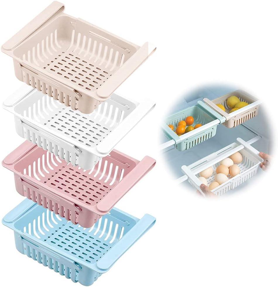 Frigoríficos Organizadores de Cajones, Wuudi Caja de Almacenamiento retráctil para Refrigerador Ordenado Estante (4 Pack)