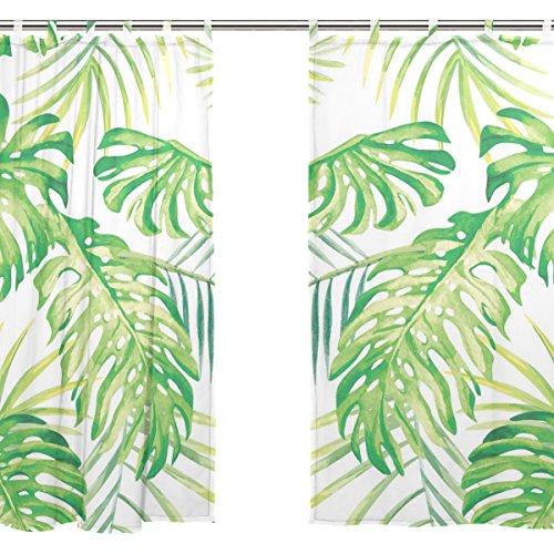 Jstel 2 pcs Voile de rideau de fenêtre, Tropical Art Feuille, tulle Sheer Rideau Drape Lit 139,7 x 198,1 cm Ensemble de deux Panneaux