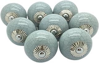 8 x gris crujido de cerámica pomos para puertas