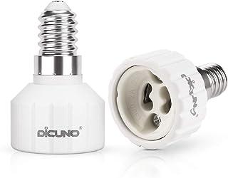 DiCUNO E27 a GU10 Adaptador de enchufe de 2 piezas, convertidor socket, portalámparas, Base de lámpara para bombillas LED y bombillas incandescentes o bombillas fluorescentes compactas
