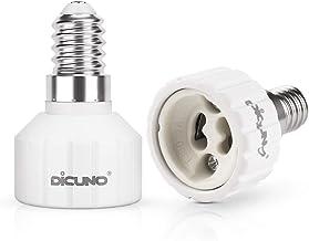 DiCUNO E14 to GU10 Adapter, Medium E14 to GU10 Light Bulb Lamp Socket Base Converter, Maximum Wattage 200W, 2-Pack