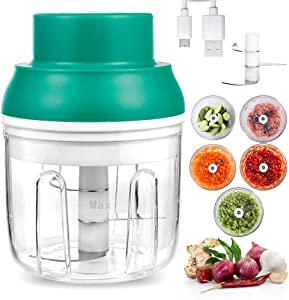 Electric Mini Garlic Chopper, Wireless Food Processor Garlic Press Vegetable Mincer Crusher with USB Charging and Powerful Cutting for Onion Ginger Chili Pepper Spice Meat, BPA Free (250ml)