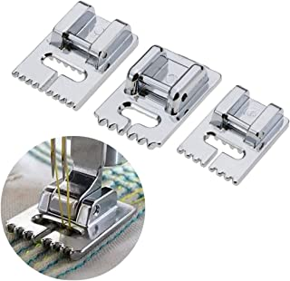 FineInno 3 Packs Tucker Presser Foot Suitable for Domestic Multifunction Sewing Machines Janome, Brother Etc.5 Grooves,7 Grooves,9 Grooves (3 pcs Tucker Presser Foot)