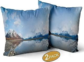 Nine City Alaskan Landscape Panoramic Theme Pillow Cases Set of 2,146042 Decorative Square Accent Pillow Case,22