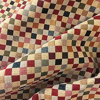 Tela por metros de tapicería - Jacquard Gobelino - Ancho 280 cm - Largo a elección de 50 en 50 cm | Cuadros pequeños - Rojo, naranja, verde, azul, beige