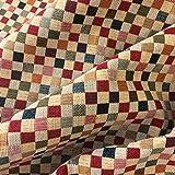 Kt kilotela tela por metros de tapicería - jacquard gobelino - ancho 280 cm - largo a elección de 50 en 50 cm | cuadros pequeños - rojo, naranja, verde, azul, beige