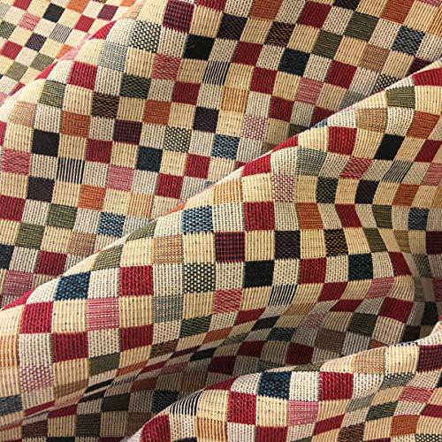Kt KILOtela Tela por Metros de tapicería - Jacquard Gobelino - Ancho 280 cm - Largo a elección de 50 en 50 cm   Cuadros pequeños - Rojo, Naranja, Verde, Azul, Beige