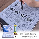 Tianjintang Eco-Friendly Rewritable Chinese Calligraphy Water Writing Book Set with Calligraphy Brush for Learner The Heart Sutra 心经 Ouyang Xun 欧阳询 Pack of 4 pcs
