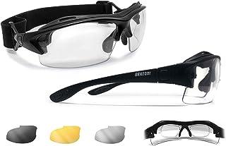 BERTONI Sportbrille mit Sehstärke für Brillenträger Selbsttönend Antibeschlag UV Schutz Gläsern und mit Austauschbare Bügel oder Kopfband mod 399
