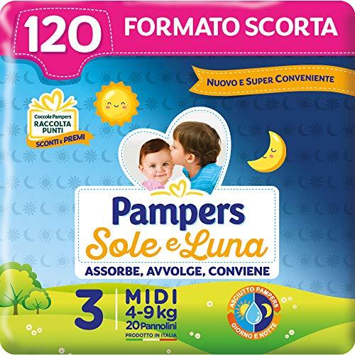 Pampers Sole e Luna Pannolini Midi, Taglia 3 (4-9 kg), 120 Pannolini