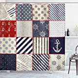 Ambesonne Nautical Shower Curtain, Maritime and Nautical Life Design with Vintage Sailor Knot Anchor Motifs, Cloth Fabric Bathroom Decor Set with Hooks, 70' Long, Vermilion Blue