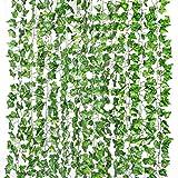 Yizhet Plantas Hiedra Artificial, 12 Piezas Artificial Hiedra Guirnalda Plantas Plantas Artificial Decoración Hojas de Follaje Falsas Planta de Vid Colgante para el Hogar, Jardín, Pared Decoración