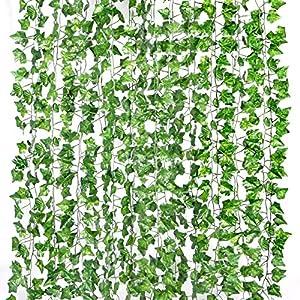 Yizhet Plantas Hiedra Artificial, 12 Piezas 2,1m Enredadera Artificial Guirnalda Plantas Artificiales Colgantes Decoración Hojas Follaje Plantas Falsas para Pared Ventana Terraza Interior Exterior