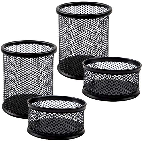 JPSOR 4 Packs Mesh Pencil Holder and Paper Clip Holder, Metal Black Pen Cups Paper Clips Organizer for Desk Office and School